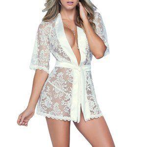 Bridal Ivory Lace Robe w/ Satin Belt Lingerie
